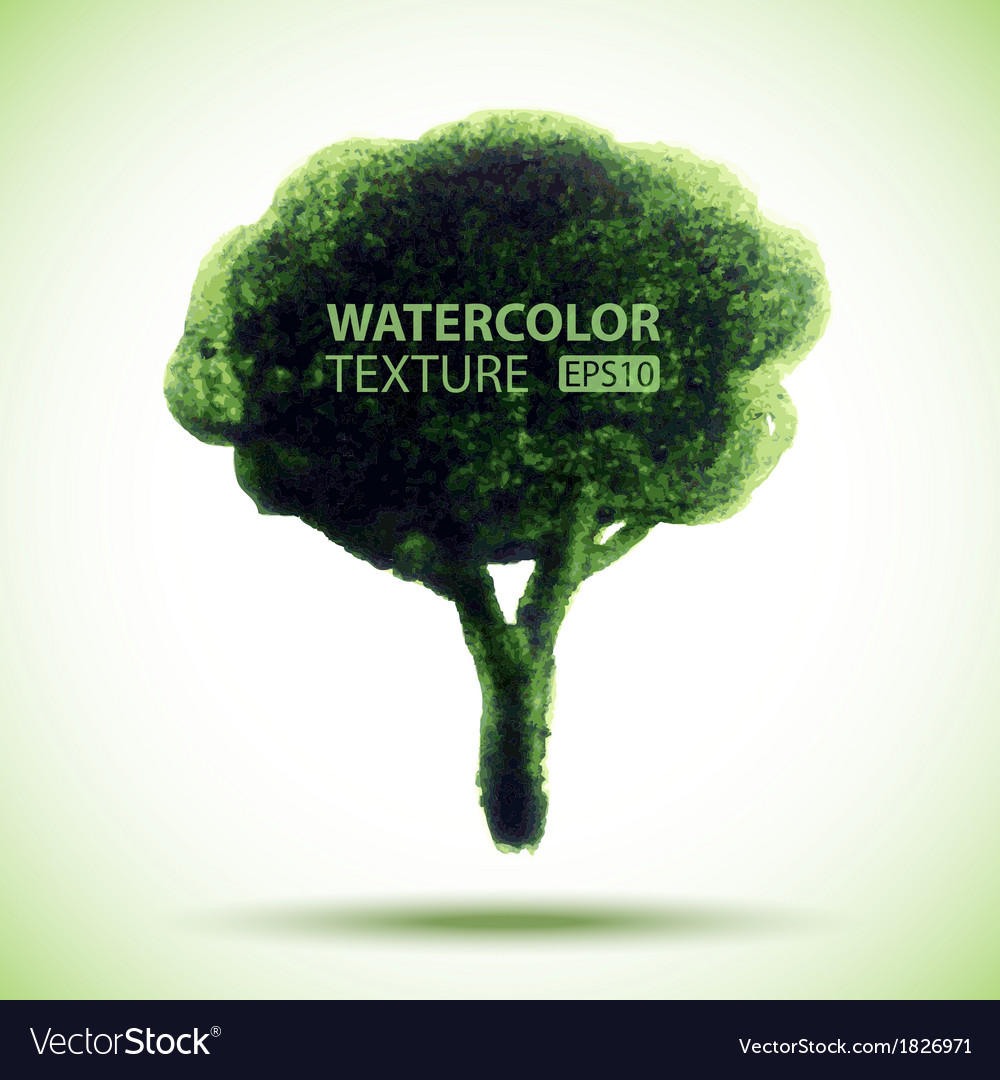 Hand drawn watercolor grunge tree vector