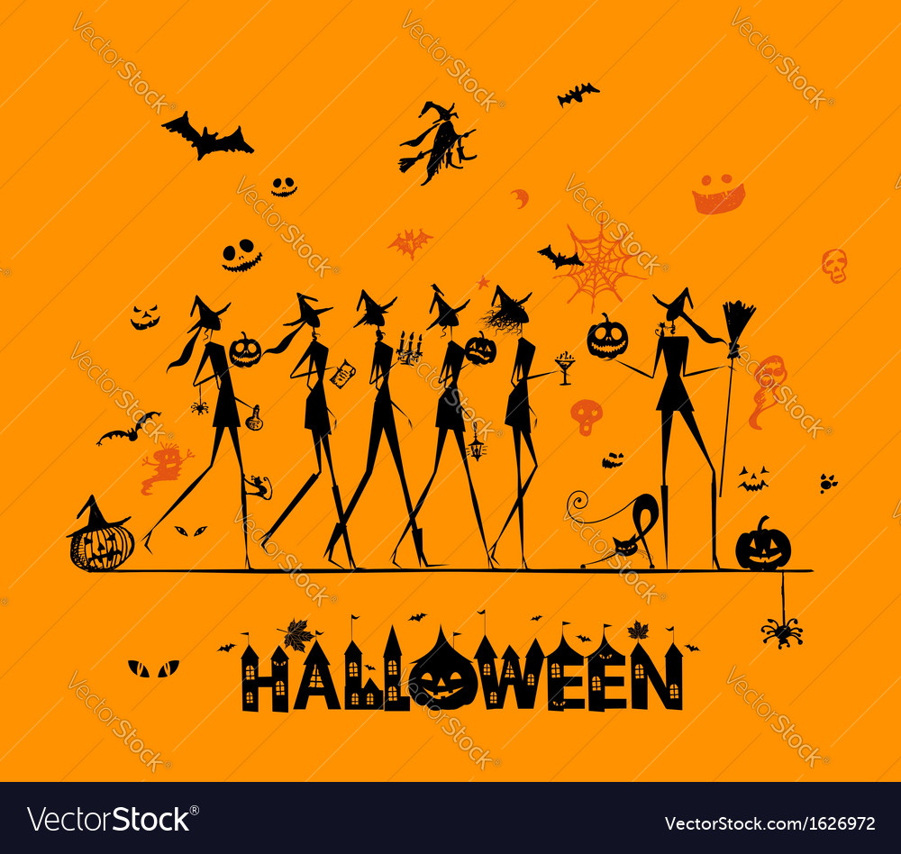 Halloween holiday young witches for your design vector