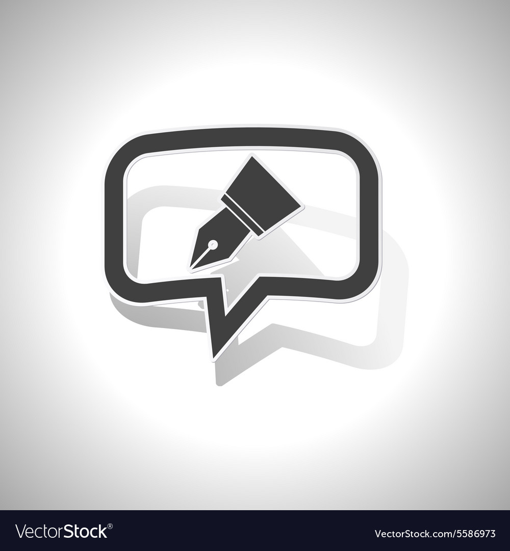 Curved pen nib message icon vector