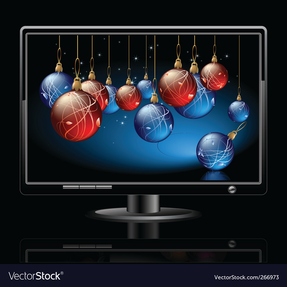 Lcd panel with christmas balls vector