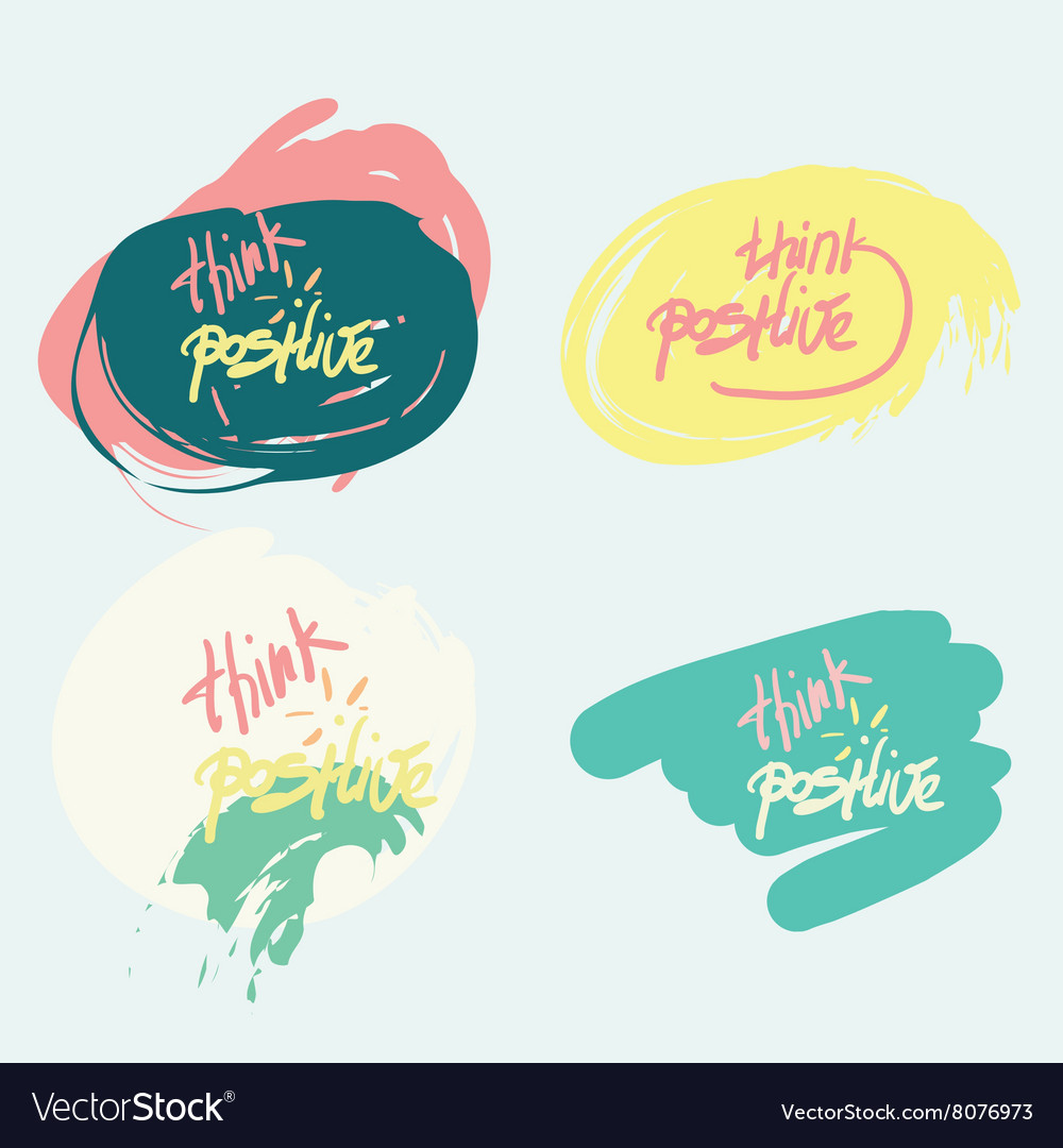 Think positive motivational poster doodle quote vector