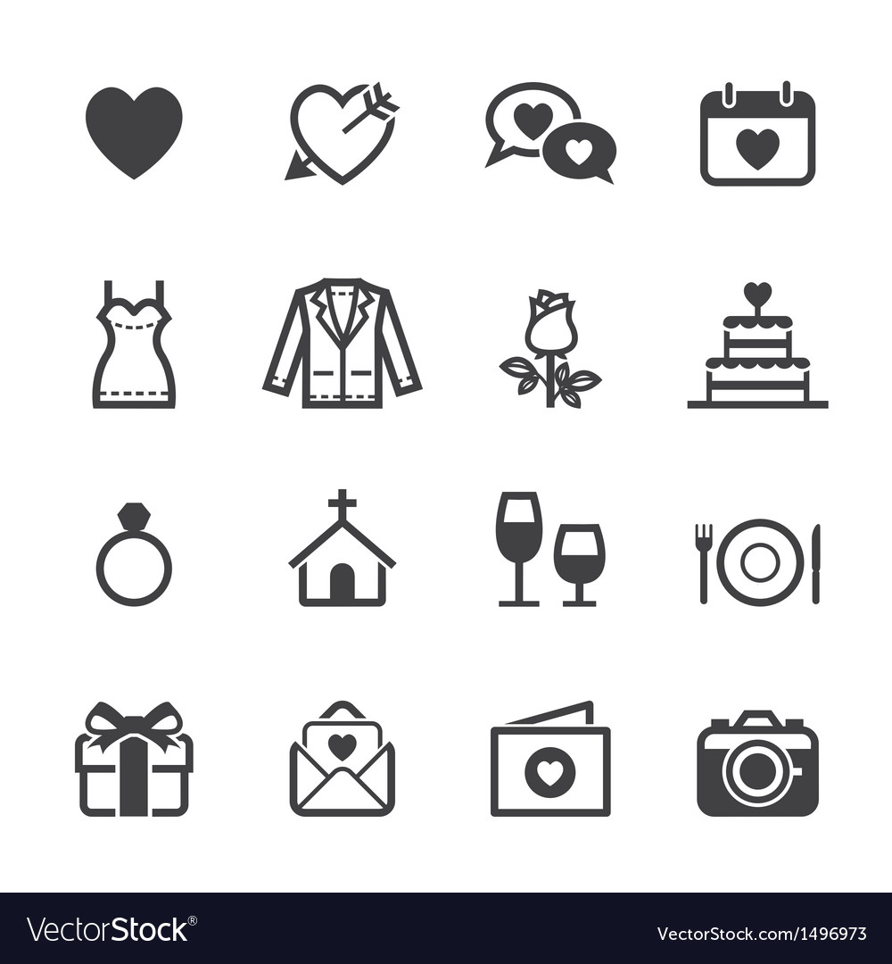 Wedding icons and love icons vector