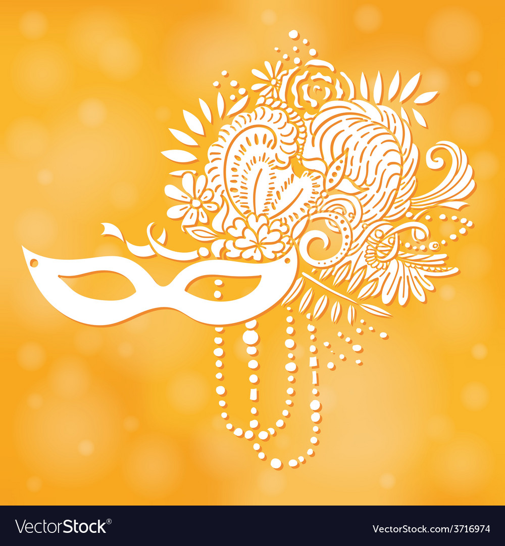 Carnival elements mask with feathers and beads vector