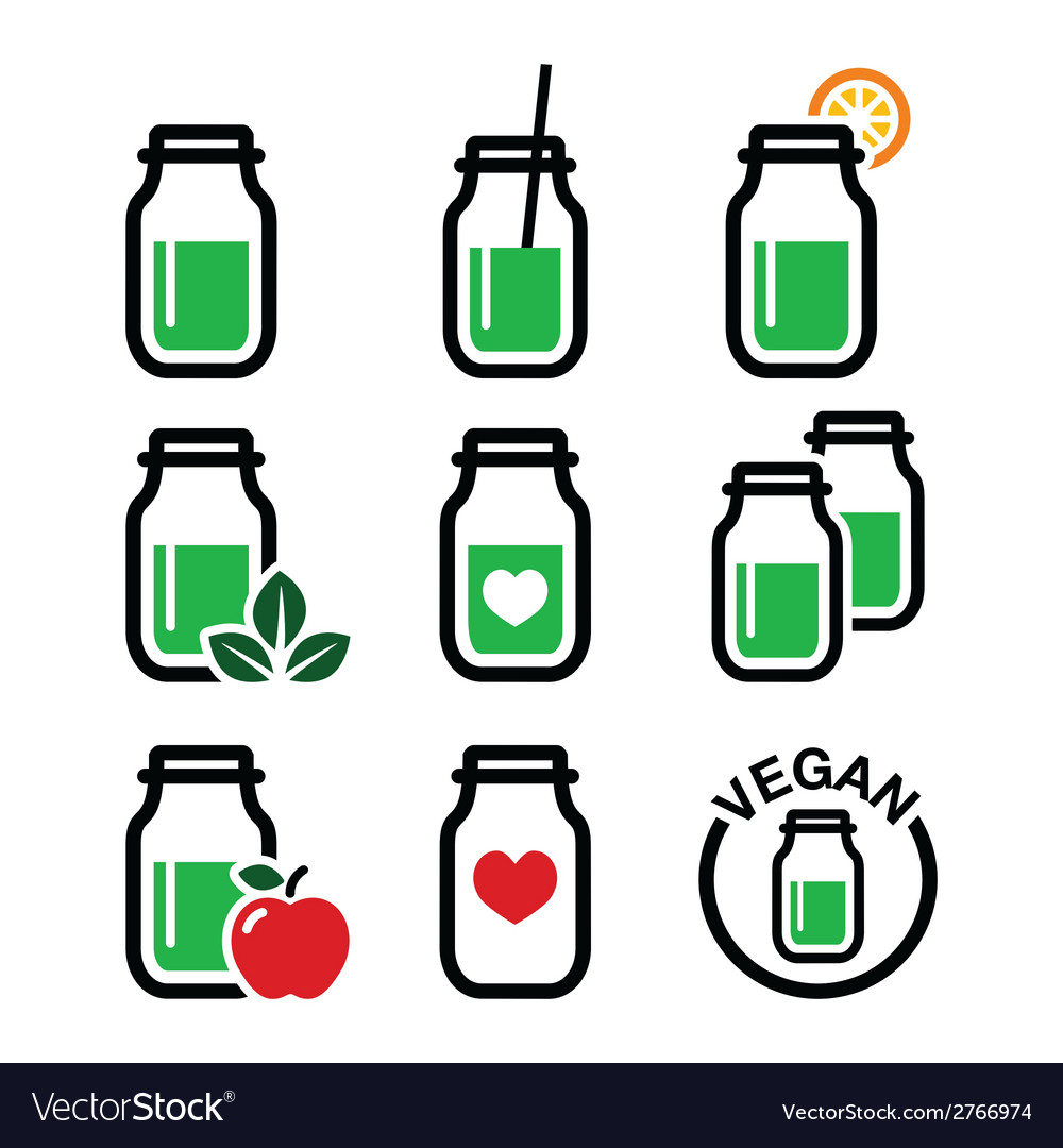 Green shake green smoothie jar icons set vector