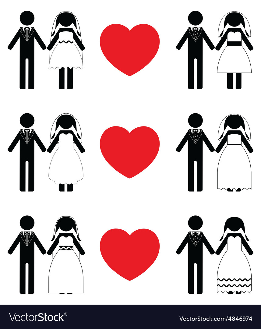 Groom and bride icon sets vector