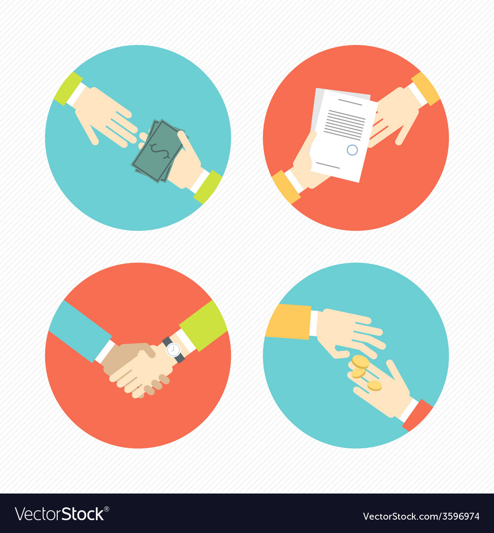 Hands with business object and icons money vector