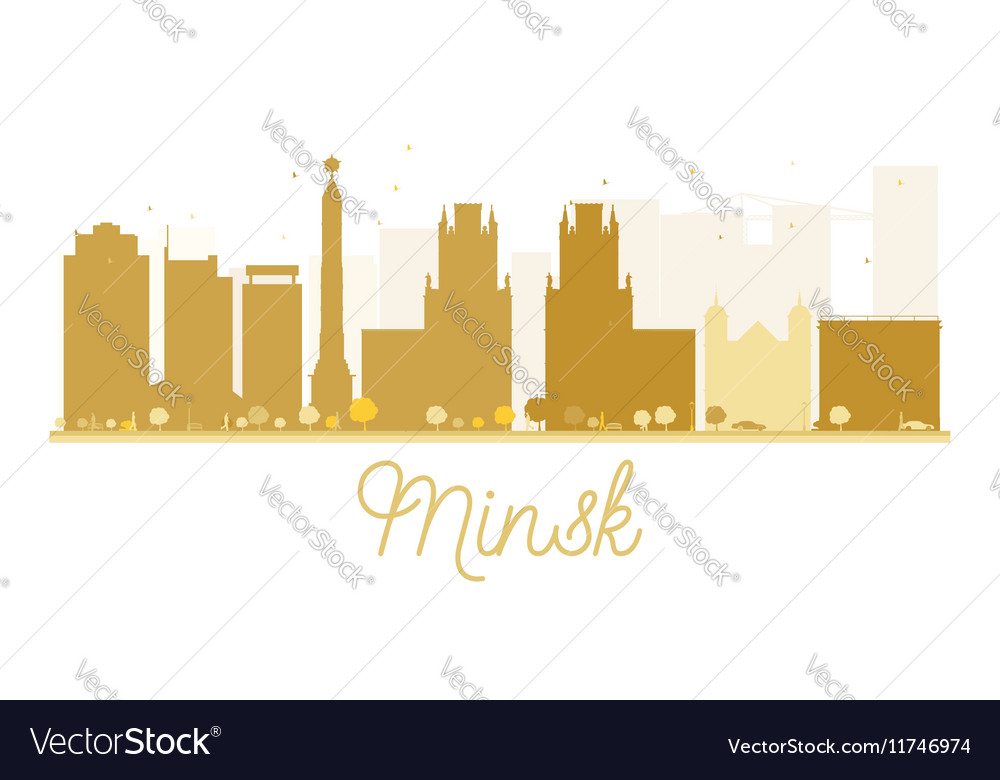 Minsk city skyline golden silhouette vector