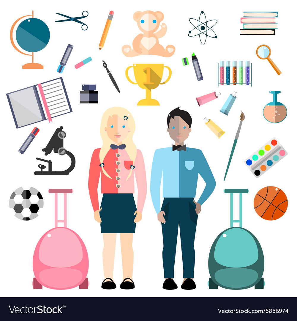 School children and education icon vector