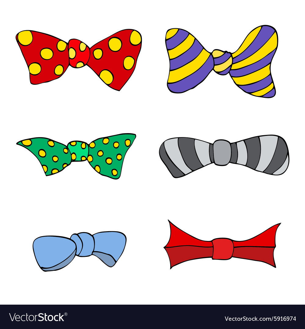 Set of colorful bow vector