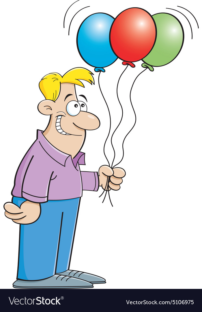 Cartoon man holding balloons vector