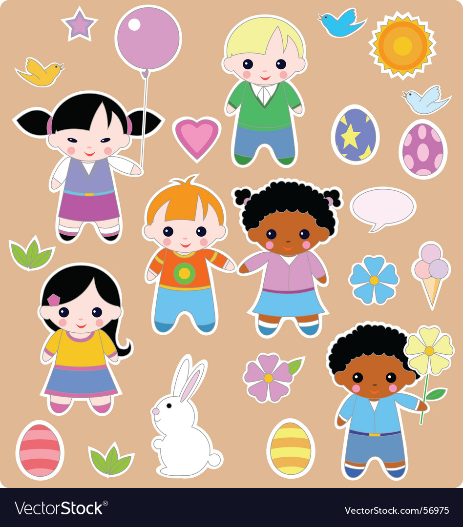 Children spring set vector