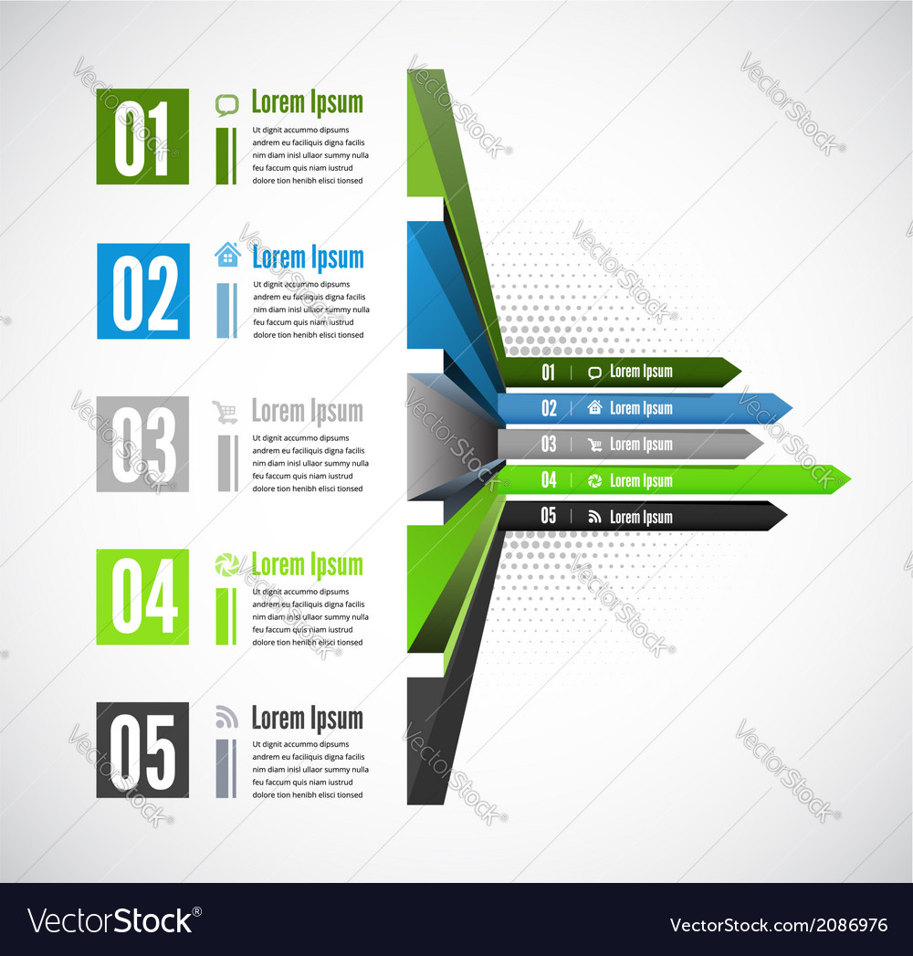 3d line arrow business concepts with icons vector