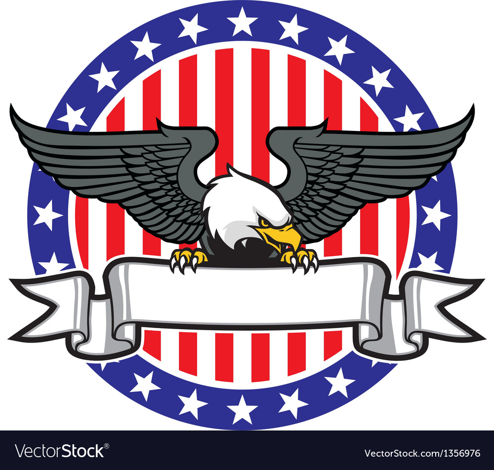 Eagle grip a ribbon with us flag as background vector