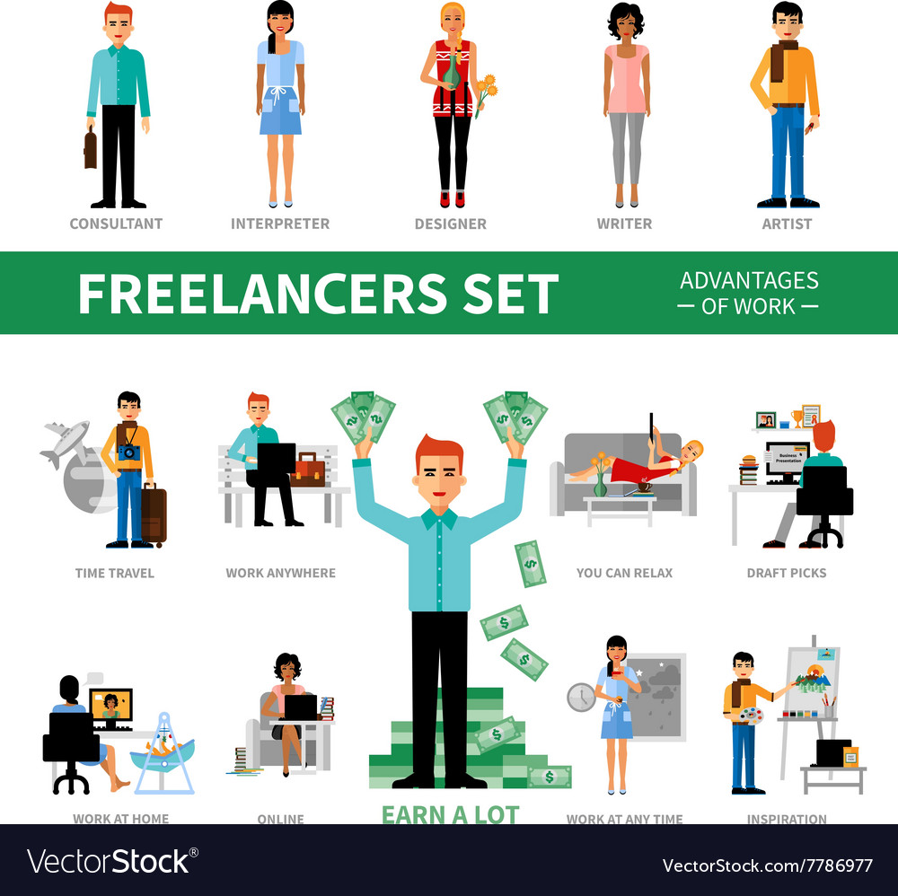 Freelancers set with advantages of work vector