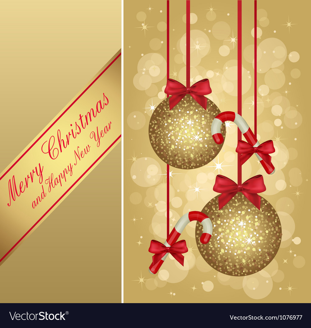 Gold christmas greeting card vector