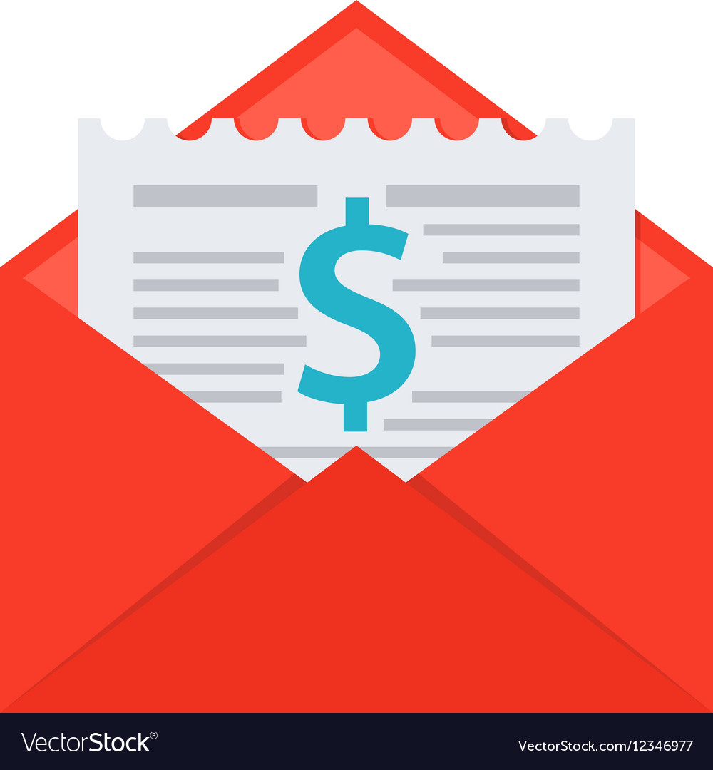 Invoice in envelope vector