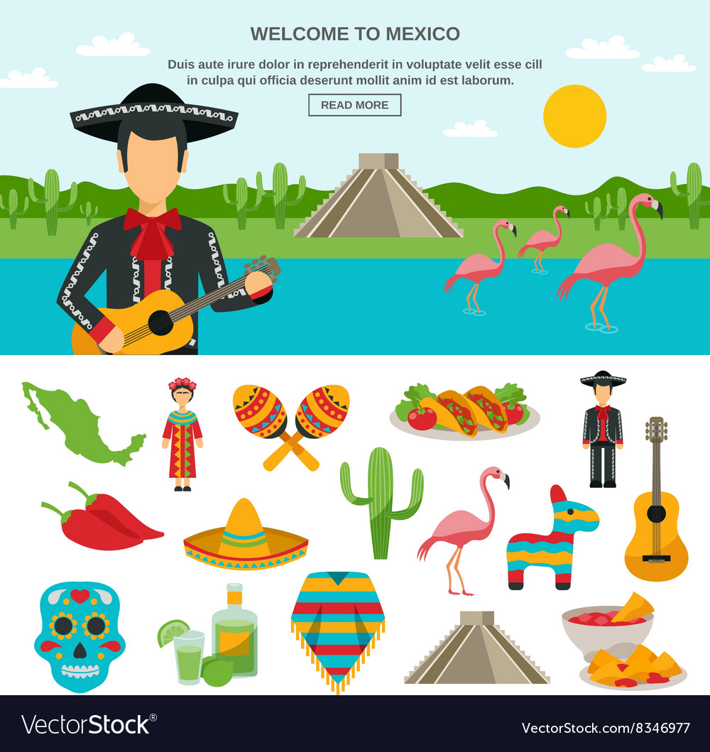 Mexico flat icon vector