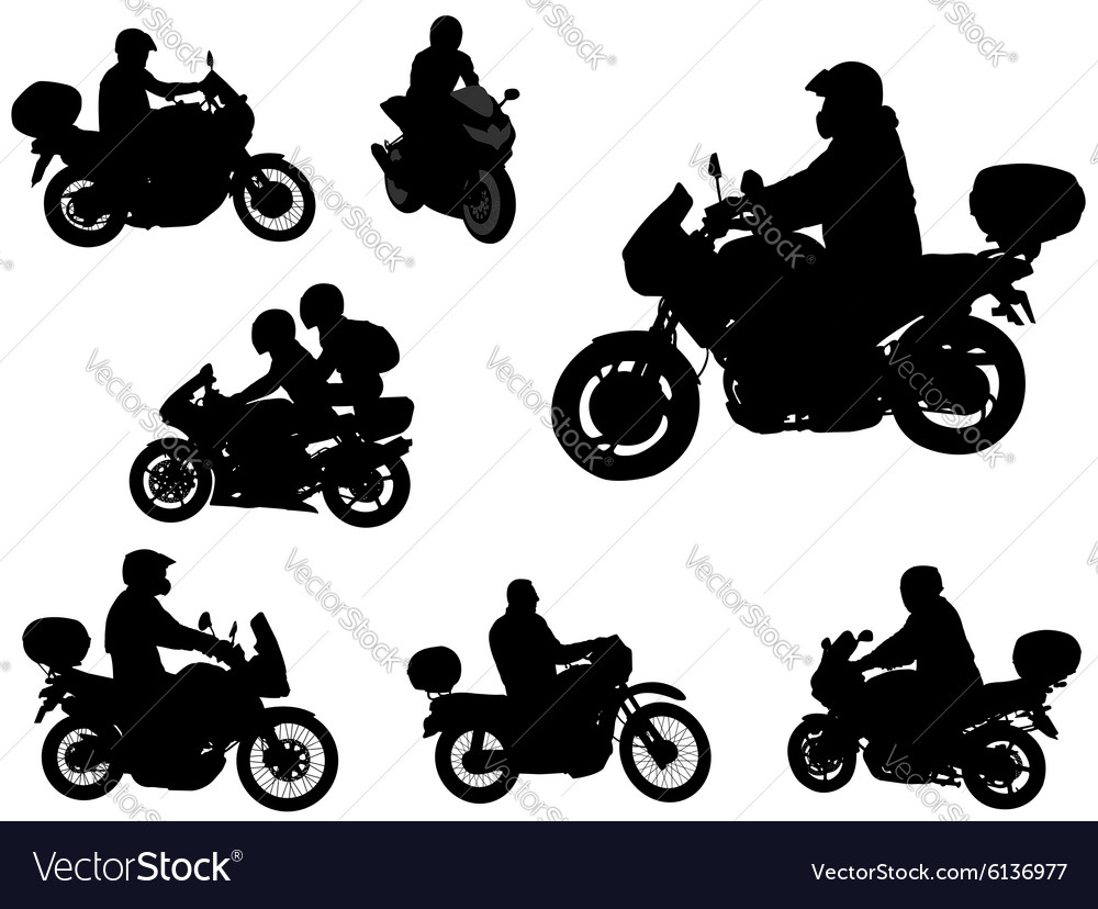 Motorcyclists silhouettes vector