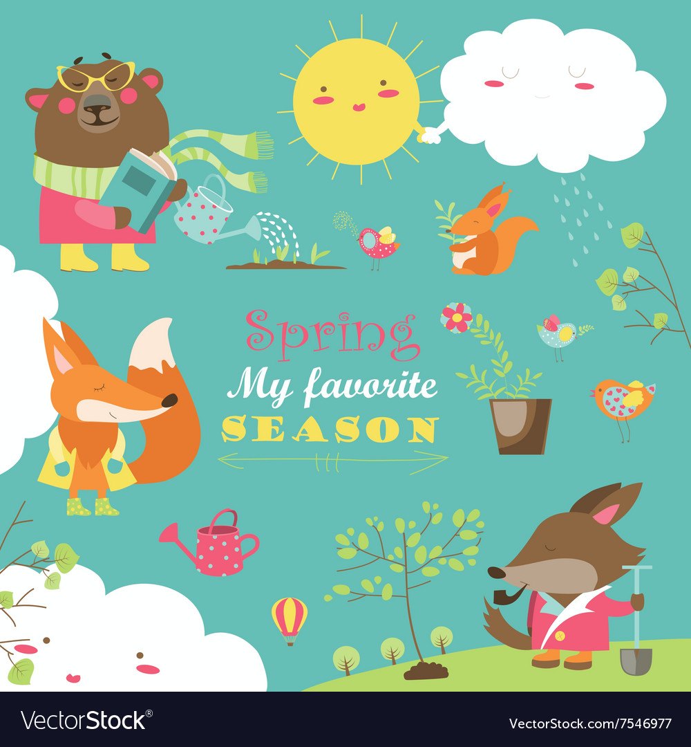 Set of cartoon characters and spring elements vector