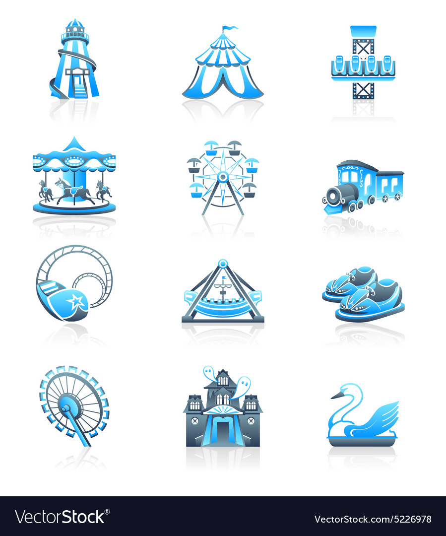 Attraction icons  marine series vector