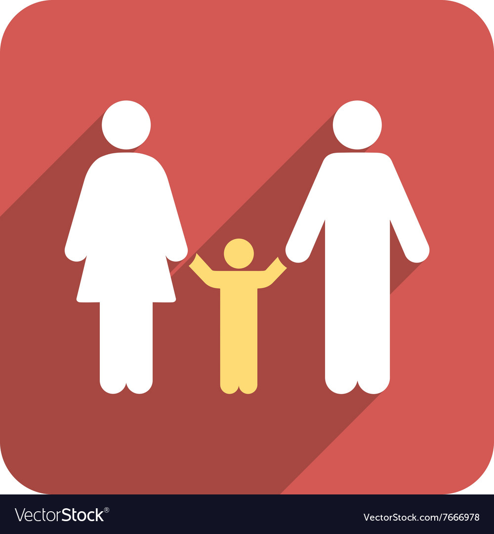 Parents and child flat rounded square icon with vector