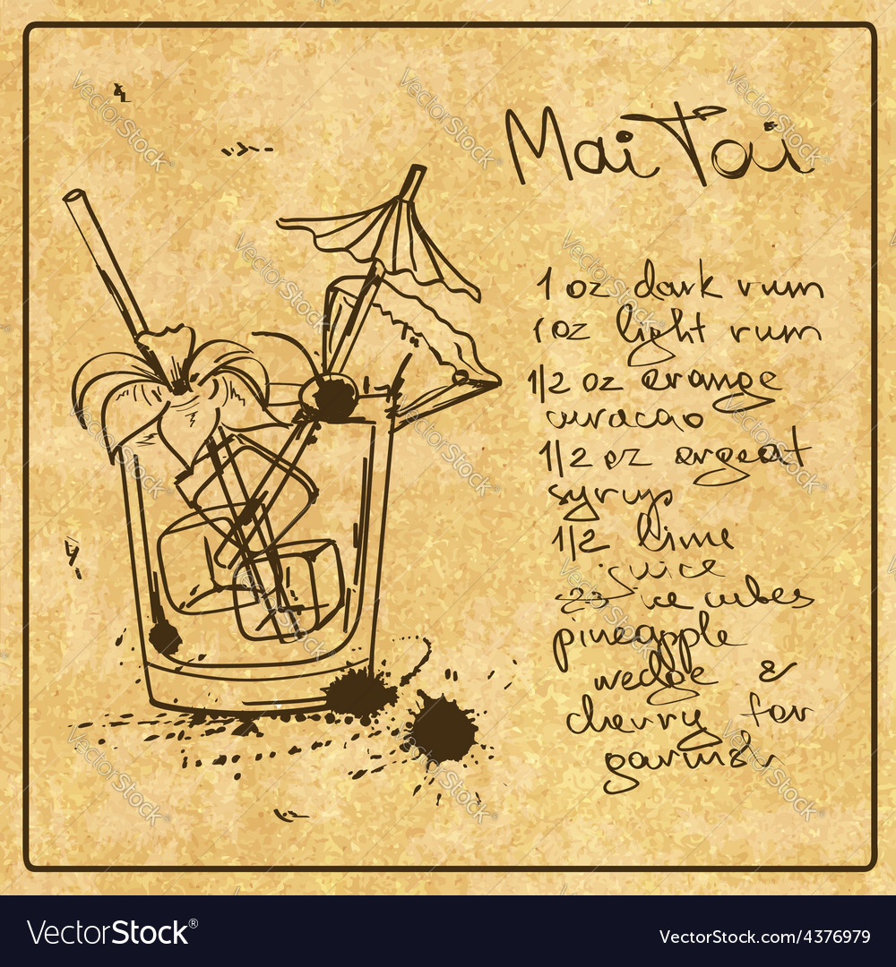 Hand drawn mai tai cocktail vector
