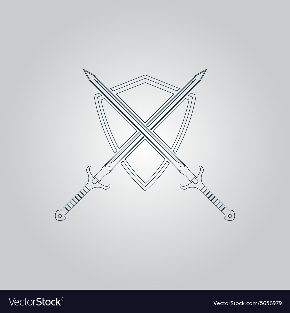Two swords and shield vector
