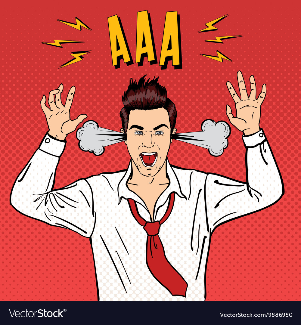 Angry businessman shouting pop art vector