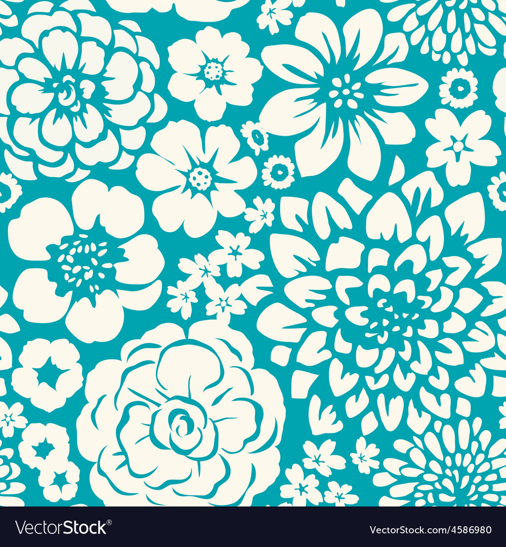 Seamless pattern with blossoming flowers vector