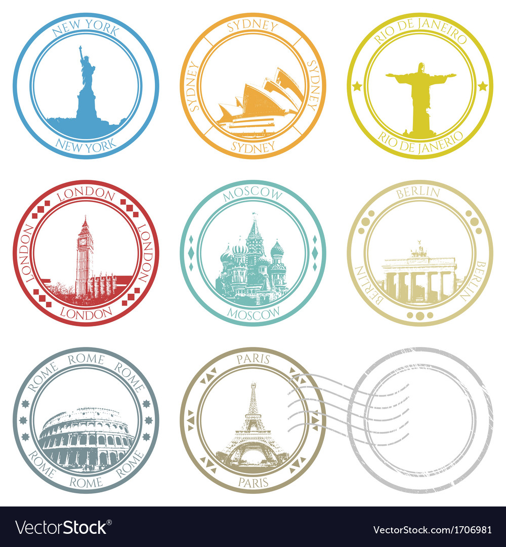City stamps and famous monuments collection vector