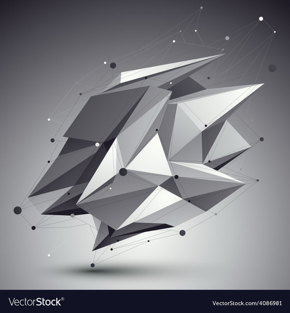 Distorted 3d abstract object with lines and dots vector