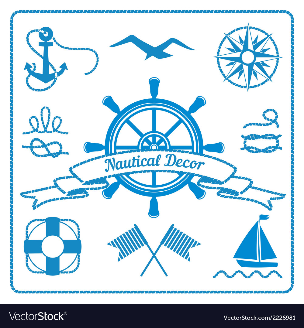Nautical badges and decor vector