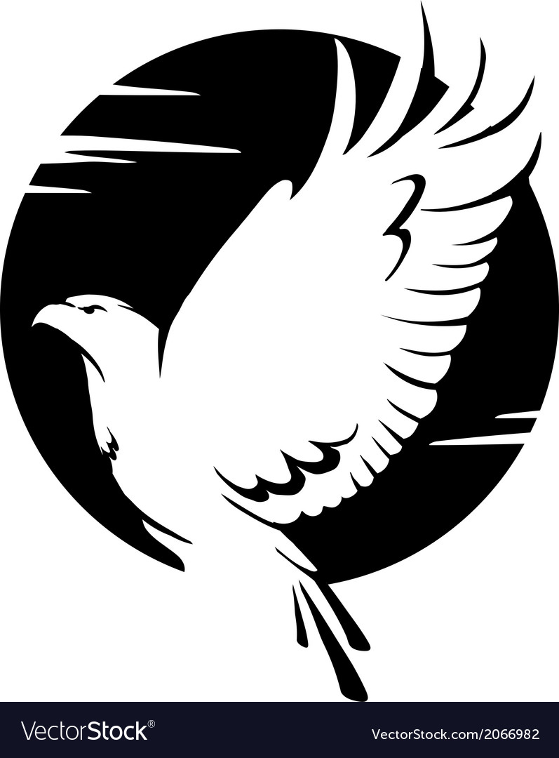 Black and white eagle vector