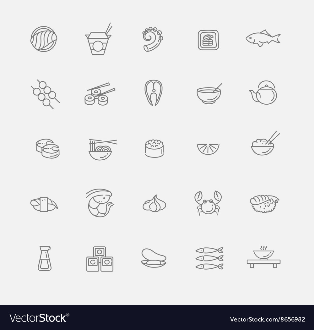 Sushi icon collection vector