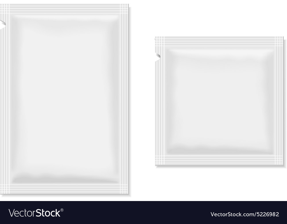 White blank sachet packaging for food cosmetics vector