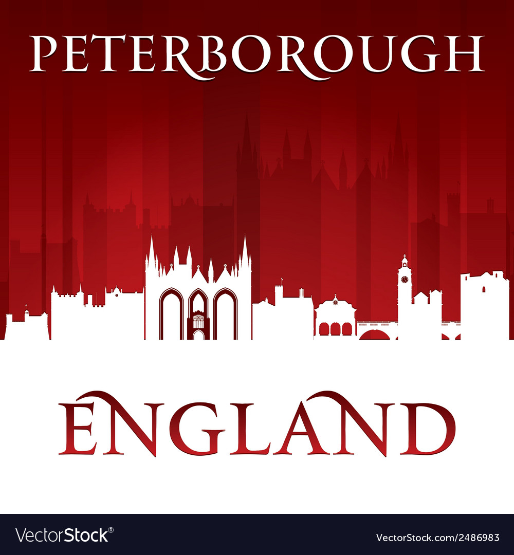 Peterborough england city skyline silhouette vector