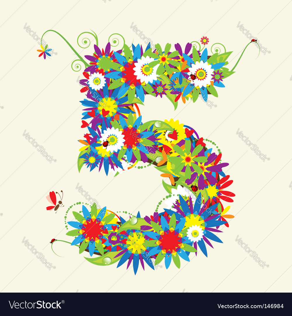 Number 5 floral design vector