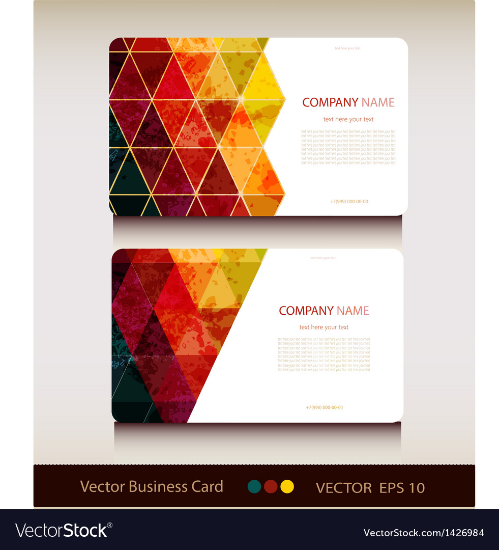 Set of abstract geometric business card vector