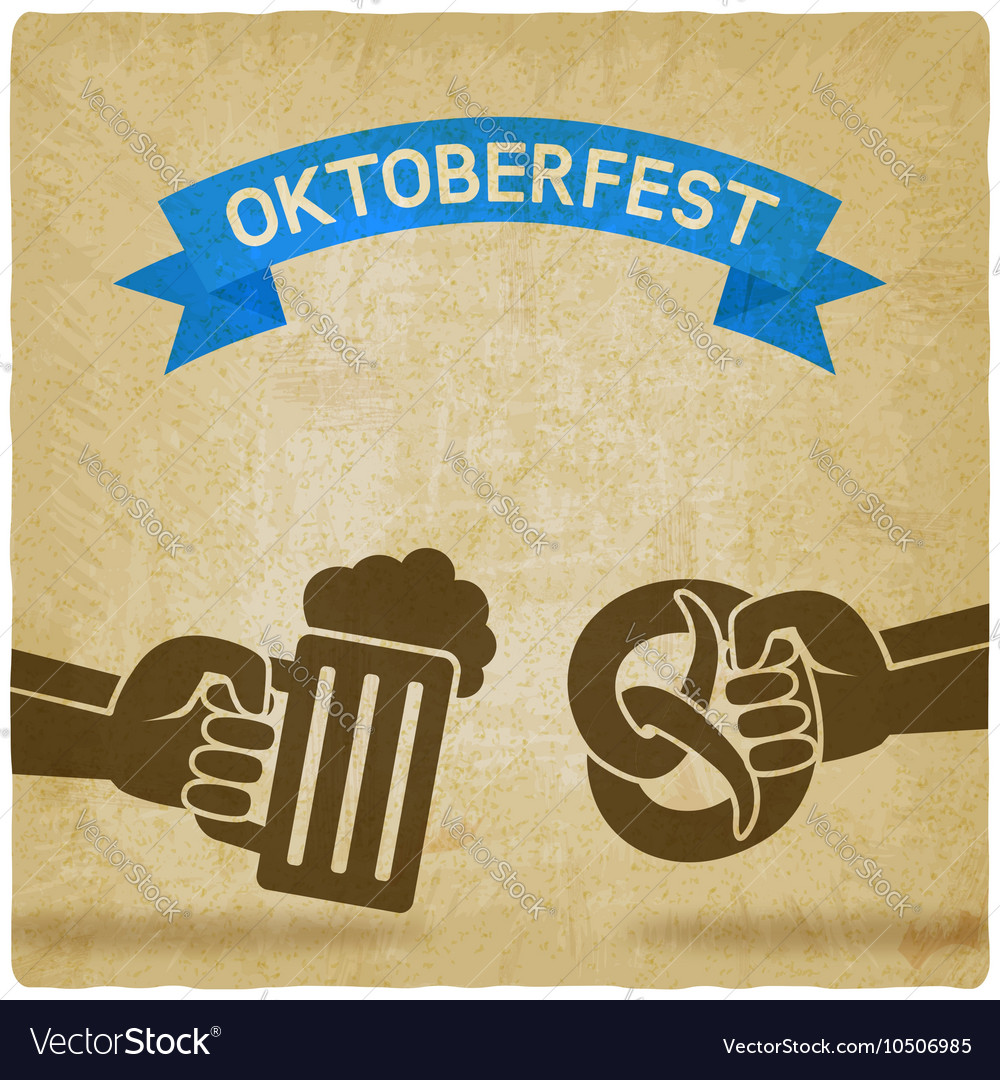 Oktoberfest concept hand with beer mug and vector