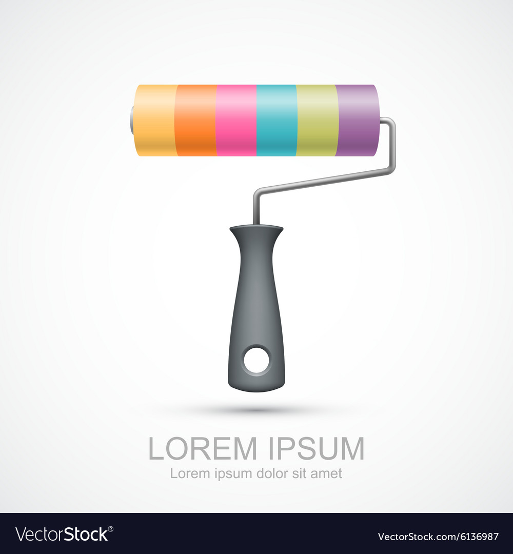 Colorful paint roller icon vector