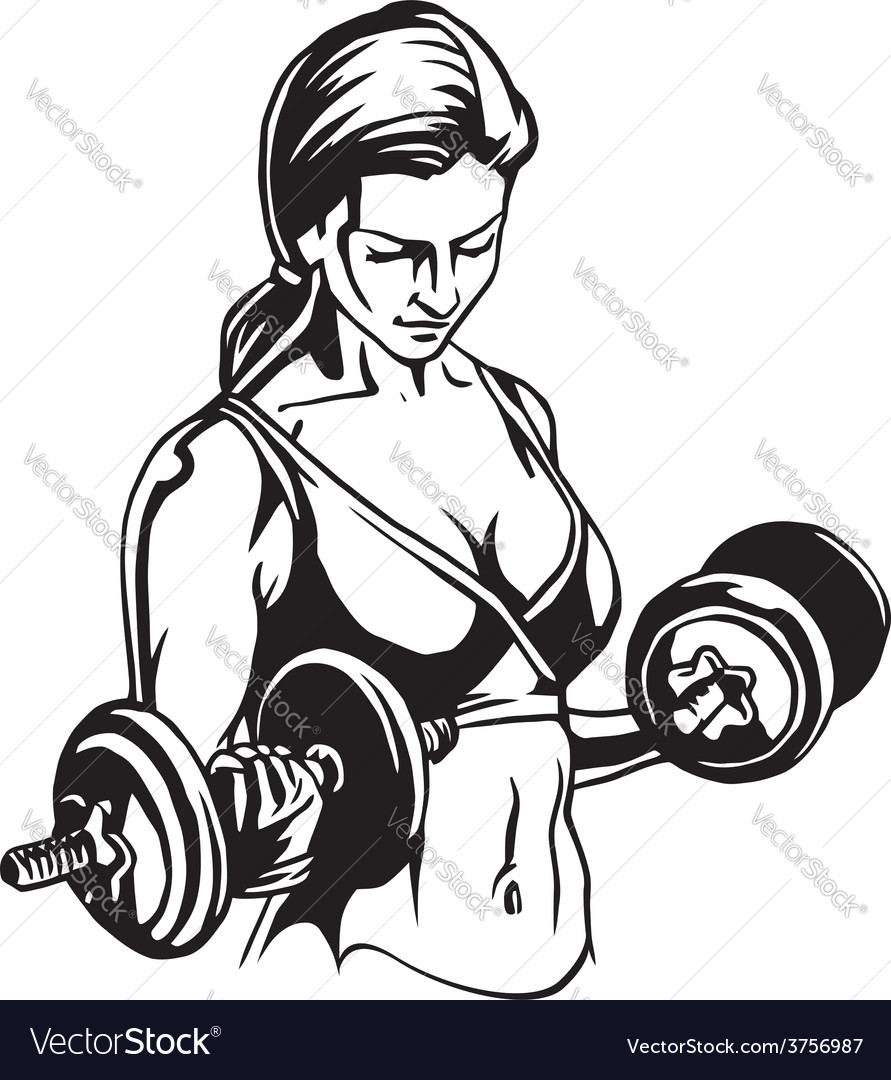 Pretty young woman lifting dumbbells  vector