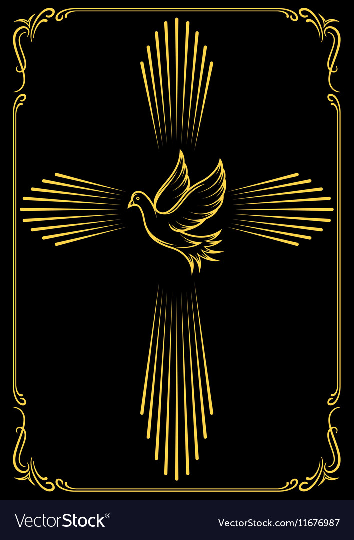 Symbolic cross and dove template emblem for vector
