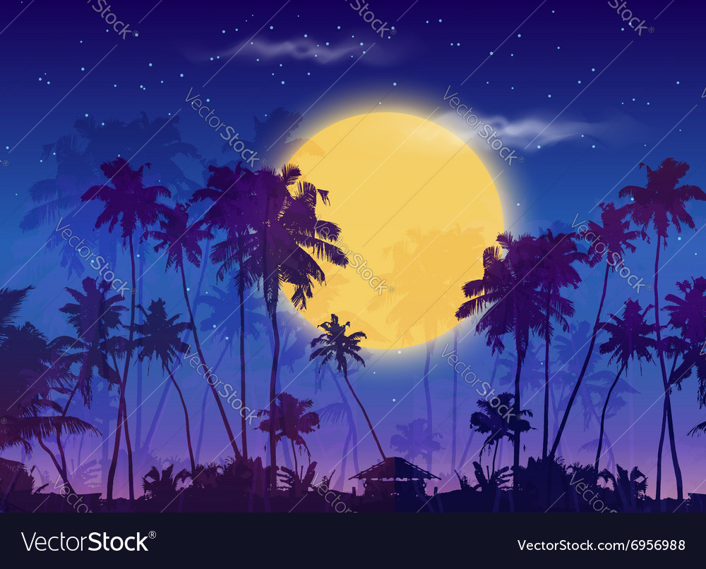 Big yellow moon with dark palms silhouettes on vector