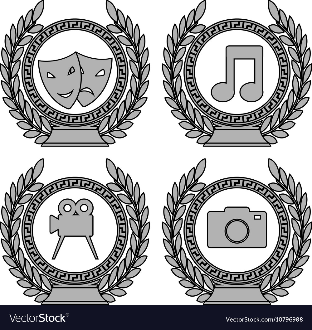 Set of symbols of achievement third variant vector