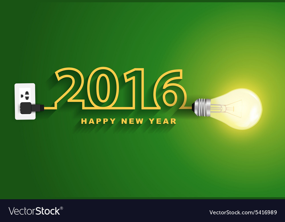2016 happy new year concept creative light bulb vector