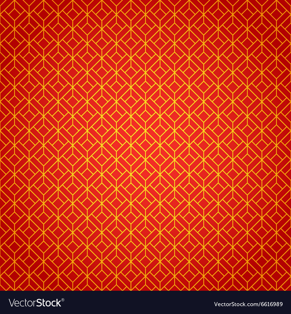 Gold and red geometric national chinese seamless vector