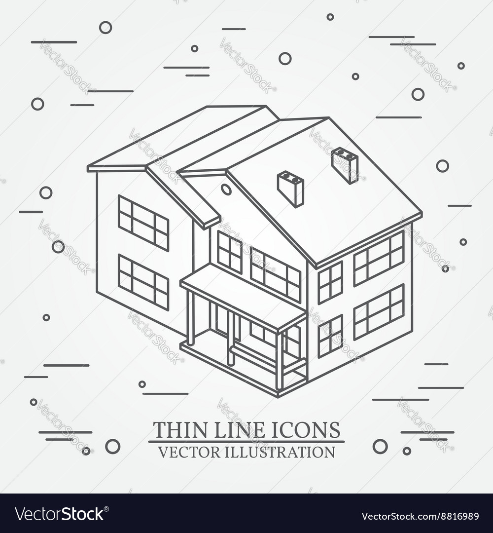 Thin line icon isometric suburban american house vector