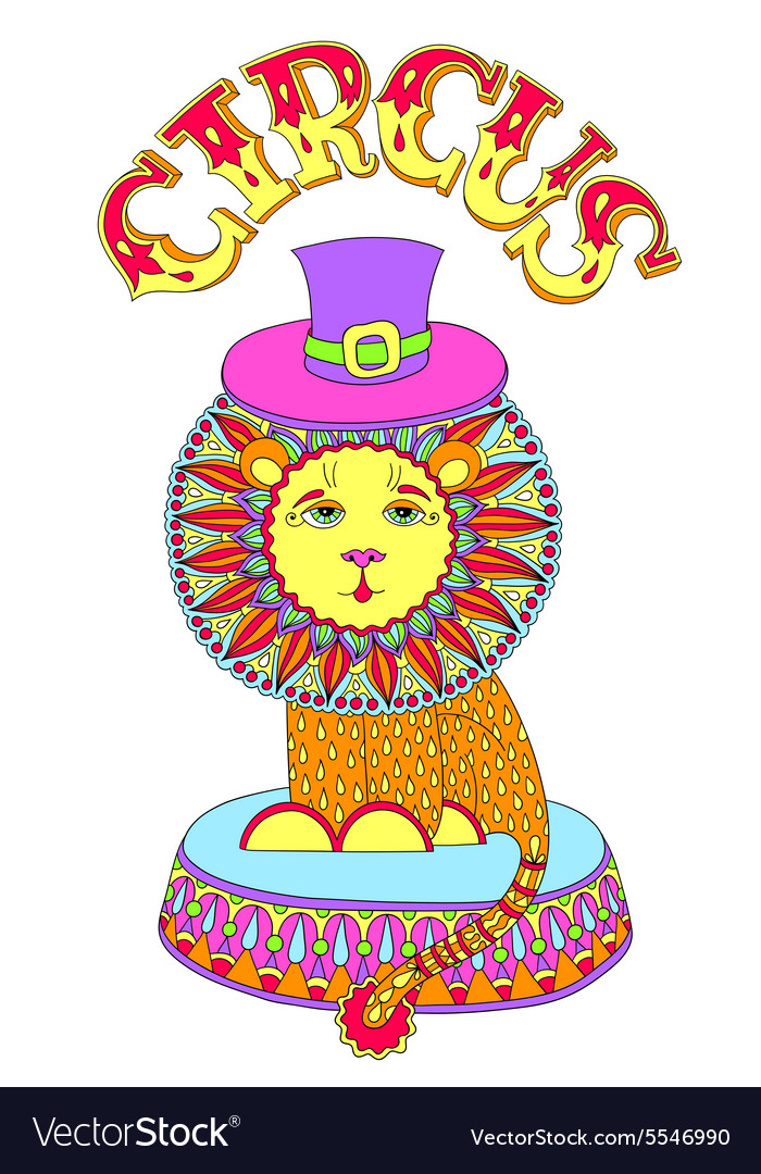 Colored line art drawing of circus theme  lion in vector