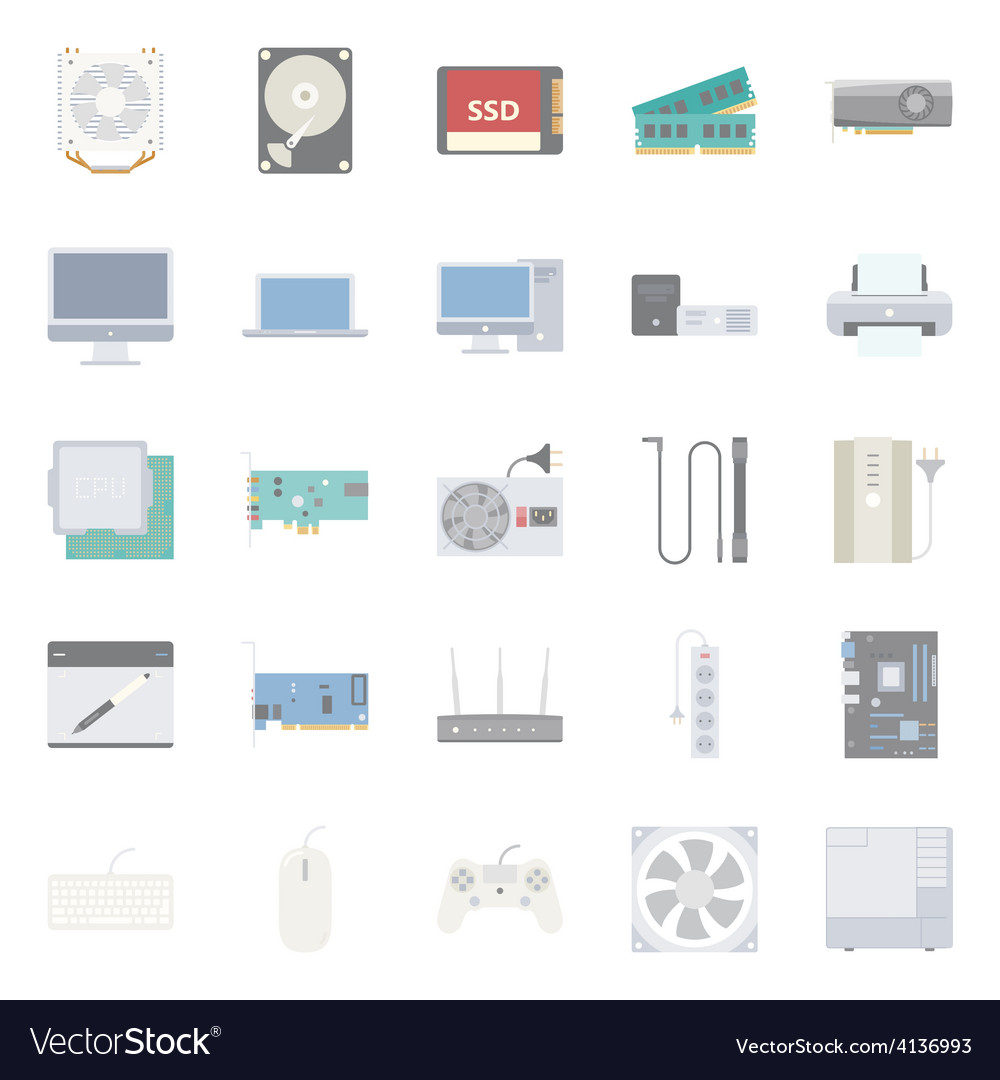 Computer components and peripherals flat icons set vector