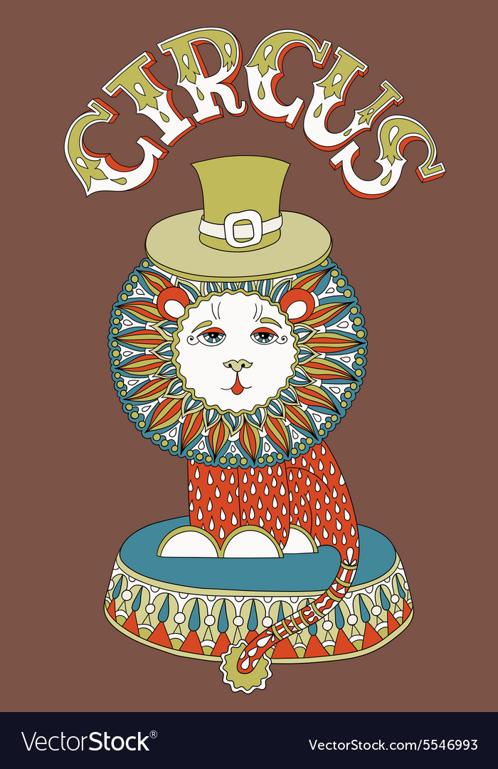 Drawing of circus theme  lion in a hat with vector